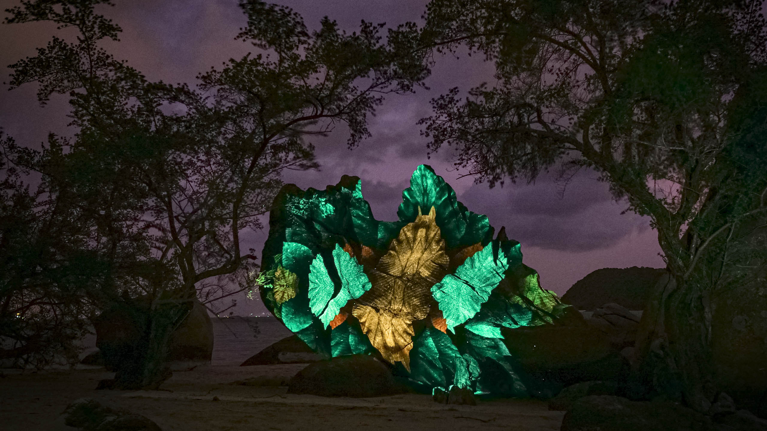light art, 3d projection mapping on a rock at the beach