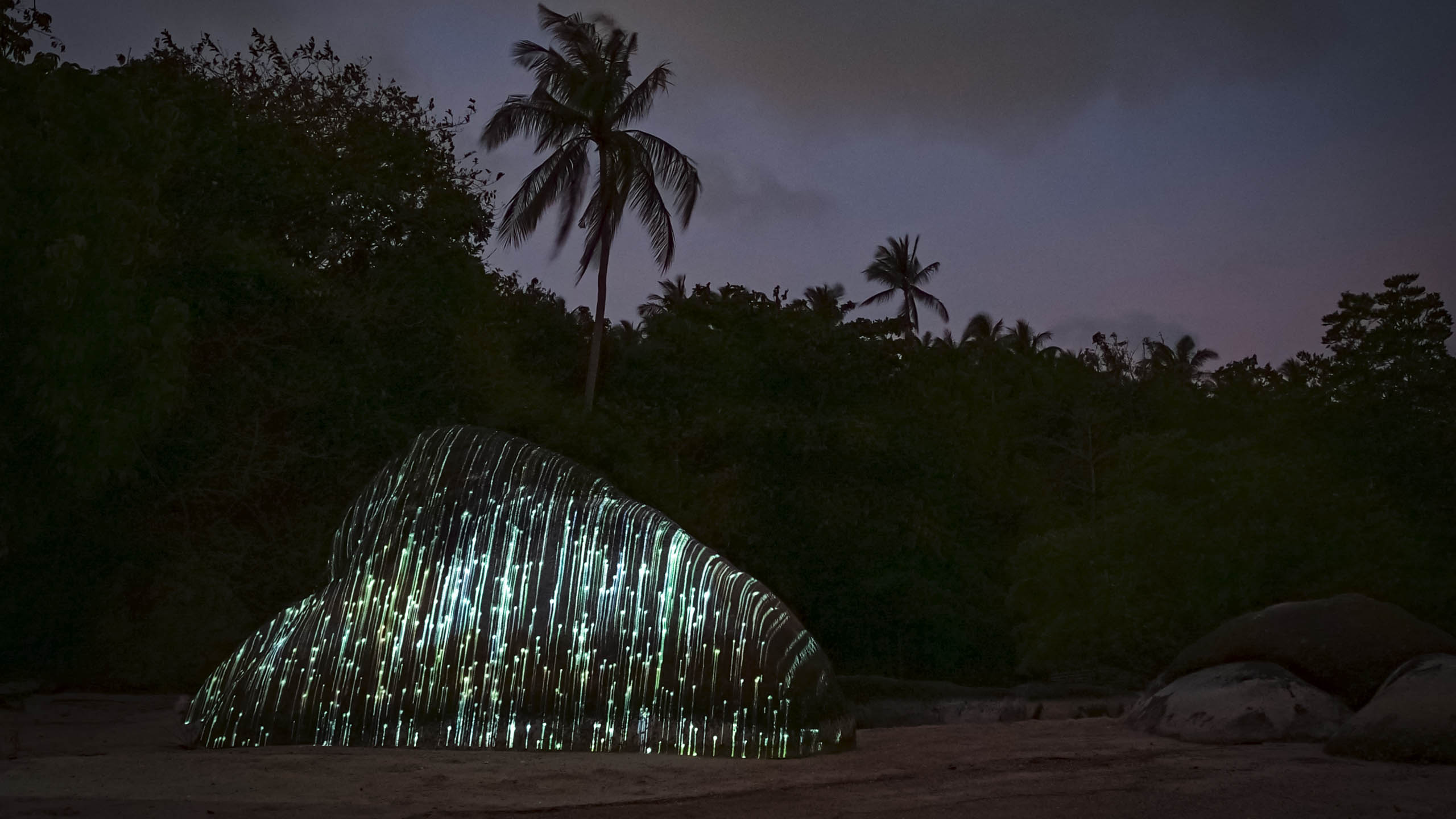 glitch light art, 3d projection mapping with graphic lines by philipp frank. Located on a rock at the beach